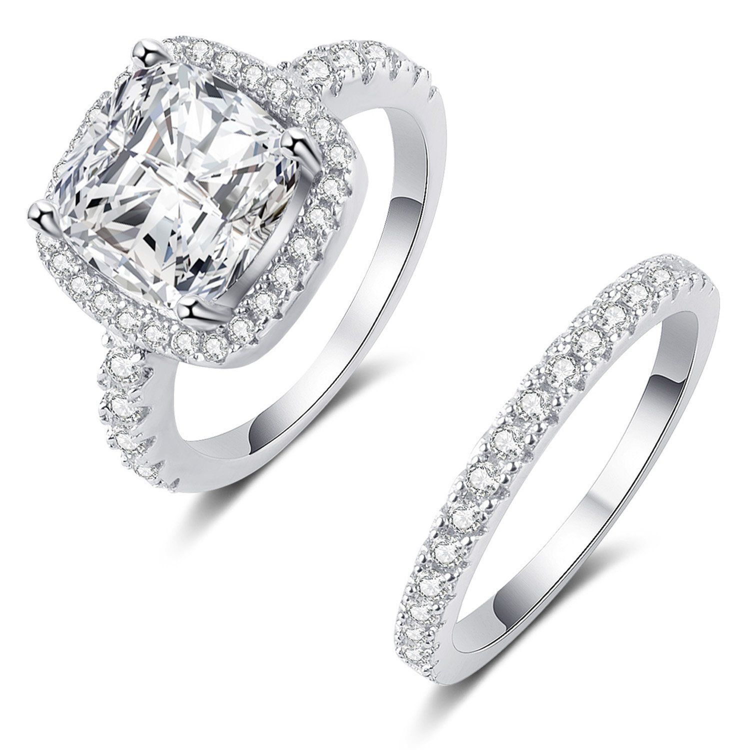 925 Sterling Silver Cz Bling Diamond Fairy Noble Engagement Wedding Ring Engagement Rings Affordable Diamond Engagement Wedding Ring Cushion Diamond Engagement