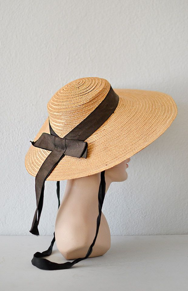784877e7 vintage 1930s hat | vintage 1930s wide brim straw hat with black ribbon