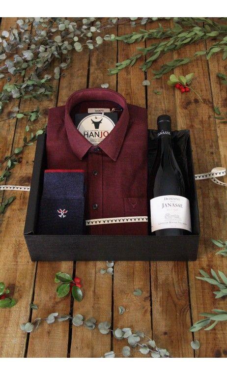 Chemise Homme Mode Flanelle Rouge Coffret Cadeau, Thème : Idée