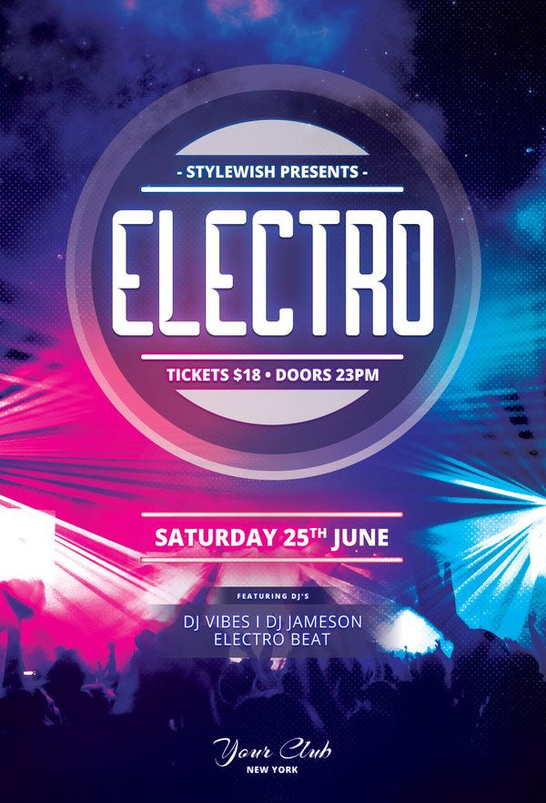 Electro Flyer Template by styleWish (Buy PSD file $9) Party poster