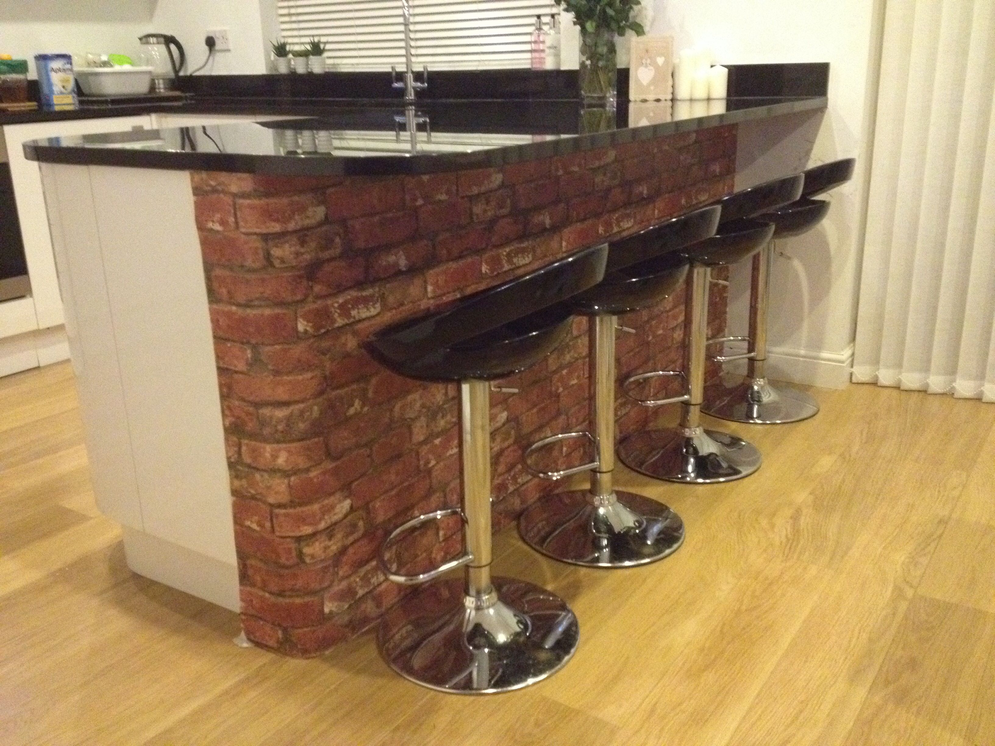 Brick wallpaper breakfast bar home pinterest breakfast bars