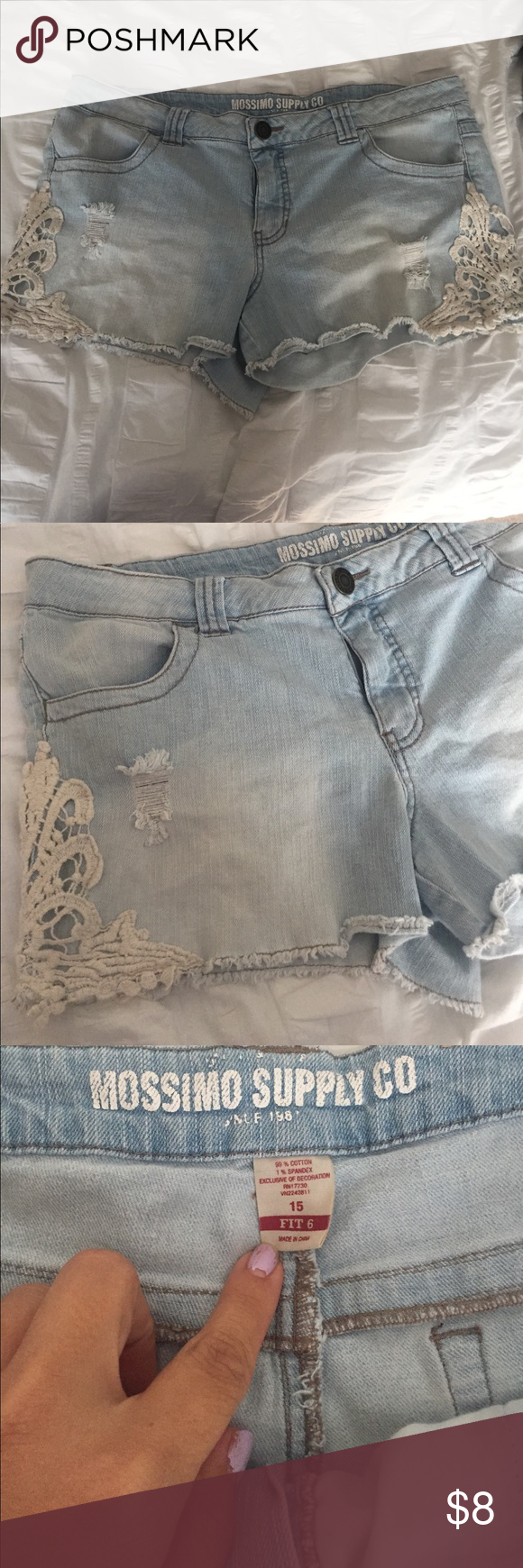 Mossimo distressed lace denim shorts Very short. Super cute! Size 15 Mossimo Supply Co Shorts
