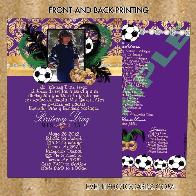 Soccer Quince Invitation Masquerade Purple Soccer Quinceanera