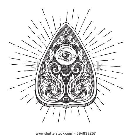 Hand Drawn Ouija Board Mystifying Oracle Planchette Isolated Antique Style Boho Chic Sticker Tattoo Or Print How To Draw Hands Ouija Tattoo Hand Art Drawing