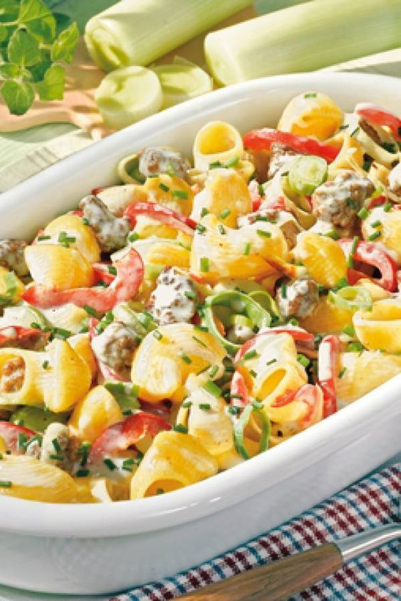 Photo of Pasta bake with croissants and minced meat
