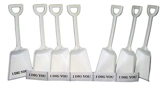 """24 ea 48 Red /& Pink Toy Plastic Shovels /&  /""""I Dig You/"""" Stickers Made in USA*"""