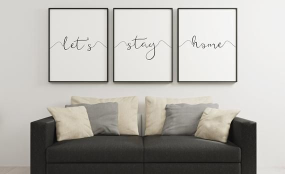 LET'S STAY HOME, Motivational Quote,Home Decor,Cute House Decor,Home Wall Art,Christmas Present,Let'