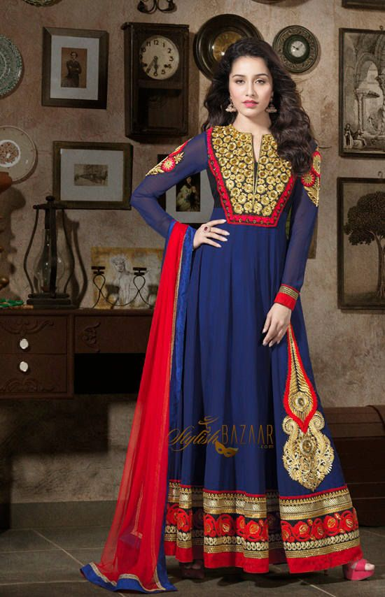 d2e9c4726ca Contrast combination of Blue and Red colours and artistic touch in work has  added stars to Indian celebrity Shraddha Kapoor s personality Blue   Red  along ...