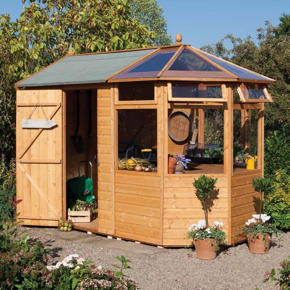 wood potting shed greenhouse combination by westmount living - Garden Sheds Greenhouses Combined