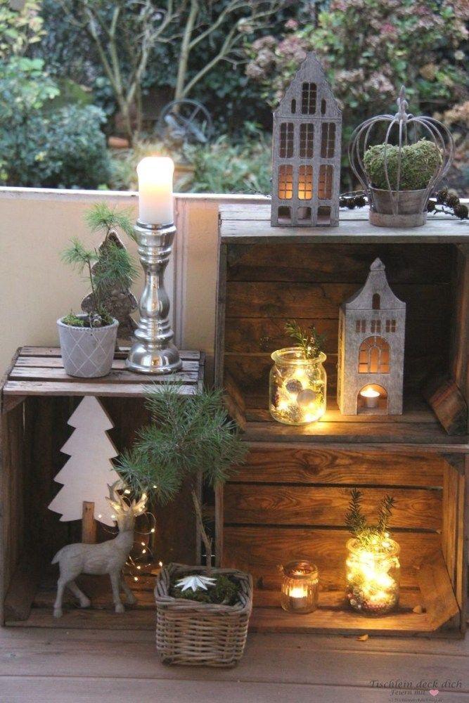 Zauberhafte Weihnachtsstimmung auf dem Balkon mit Lichterketten - Tischlein deck dich