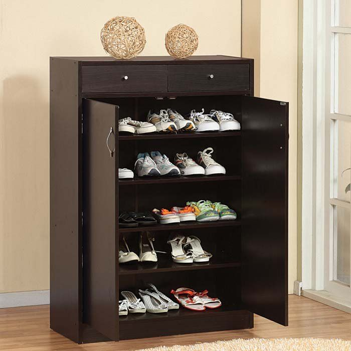 Five Shelf Shoe Cabinet with two upper