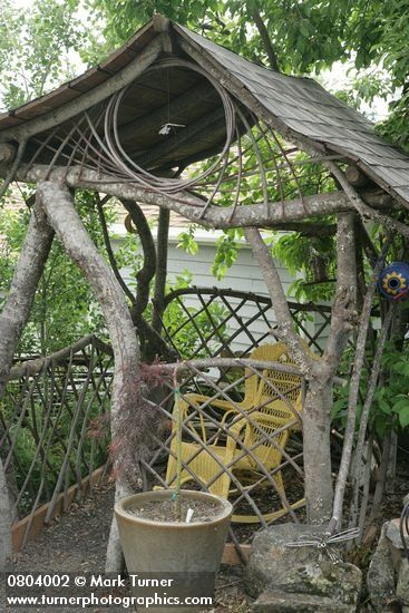 Rustic Pieced Branch Gazebo Features Straight Logs That