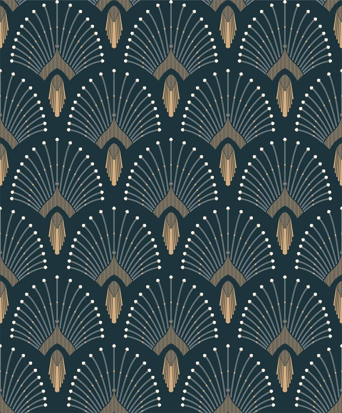 1925 Bleufonce Blue Bleu Artdeco Papermint Motif Pattern Color Wallpaper Papierpeint Decor Art Deco Wallpaper Art Deco Pattern Blue Roses Wallpaper