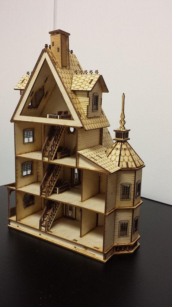 Free Shipping Diy Dollhouse Kit Laser Cut Wood 1 48 Domiki
