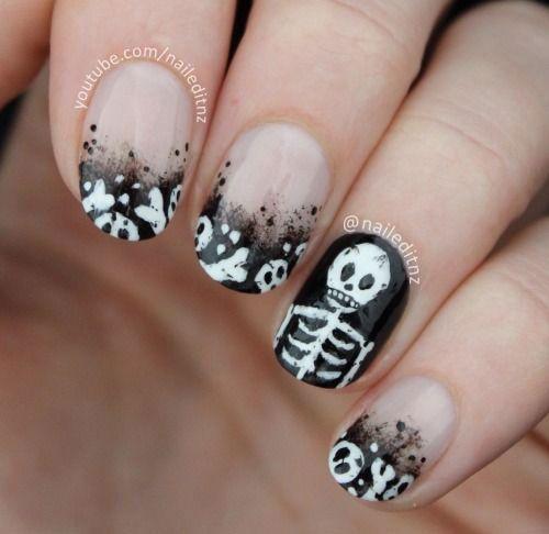 Easy and Cute Halloween Skull Acrylic Nails | Halloween ...