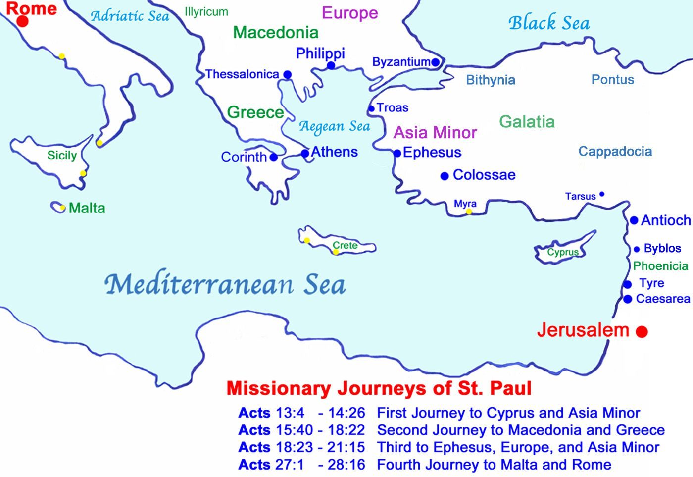 Map Of Missionary Journeys Of St Paul