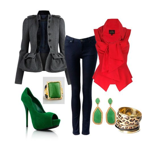 Casual Christmas Party Outfits 2013/ 2014 | Polyvore Xmas Costumes Ideas |  Girlshue. Mix of black, red, green. - Casual Christmas Party Outfits 2013/ 2014 Polyvore Xmas Costumes
