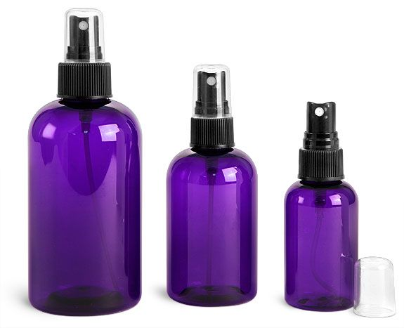 Plastic Bottles Purple Pet Round Bottles W Black Fine Mist