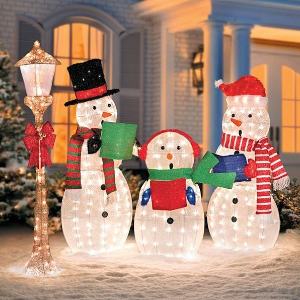 Outdoor Snowman Christmas Decorations.Caroling Snowmen Family Lighted Outdoor Christmas