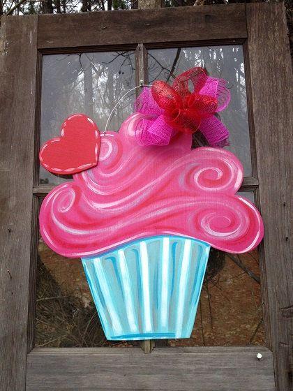 Handmade Valentine's Cupcake Doorhanger on Etsy, $29.99