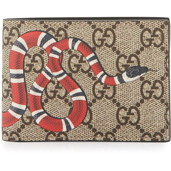 36c3e7956cdf90 Gucci Bestiary Snake-Print GG Supreme Wallet (400 CAD) ❤ liked on Polyvore  featuring men's fashion, men's bags, men's wallets, beige, gucci mens wallet,  ...