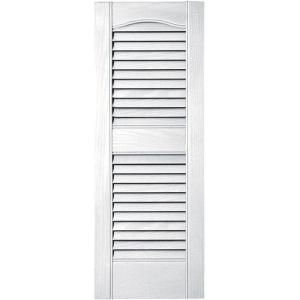 Builders Edge 12 In X 31 In Louvered Vinyl Exterior Shutters Pair In 001 White 010120031001 At The Home Dep Vinyl Exterior Builders Edge Shutters Exterior