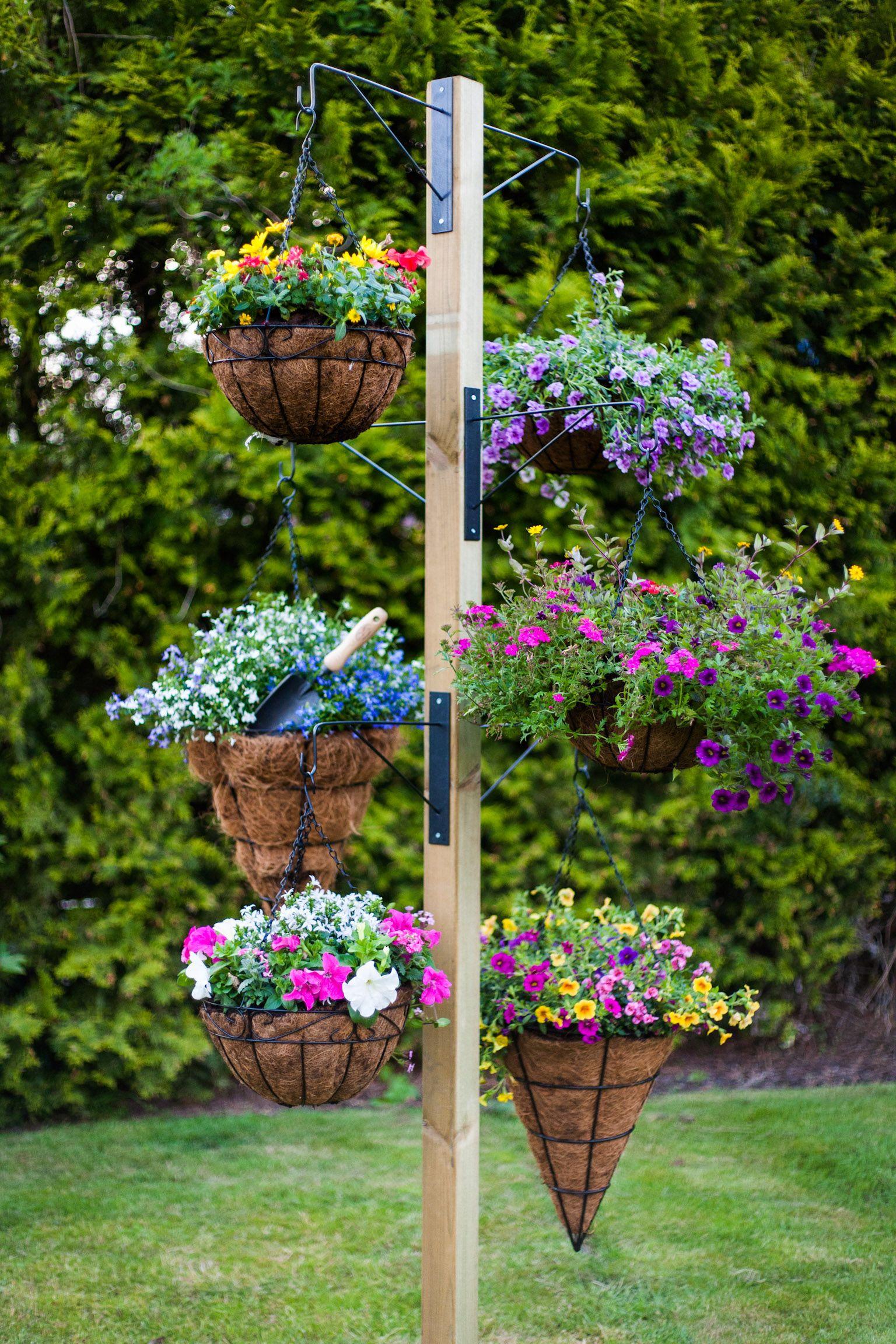 Free Standing Hanging Basket Stand Jardinagem E Decoracao Jardinagem Jardins Pequenos