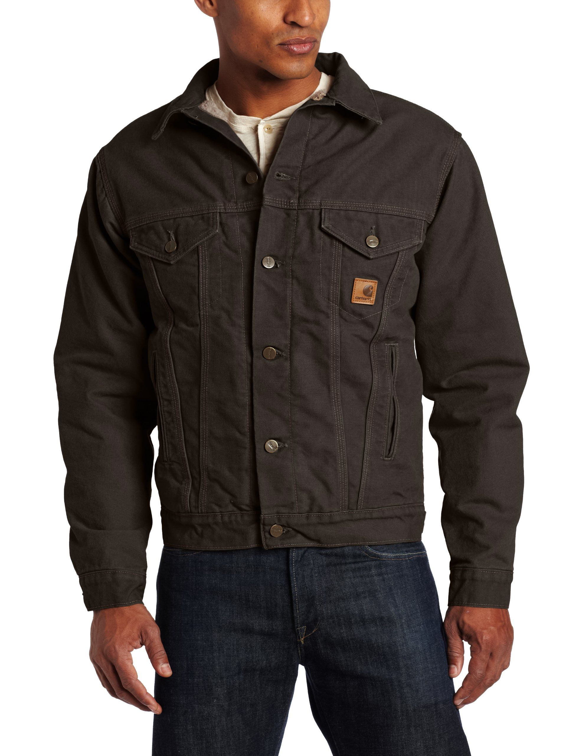 7b6acc4663 Carhartt Men's Sandstone Duck Jean Jacket with Sherpa Lining at Amazon Men's  Clothing store: Denim Jackets $84