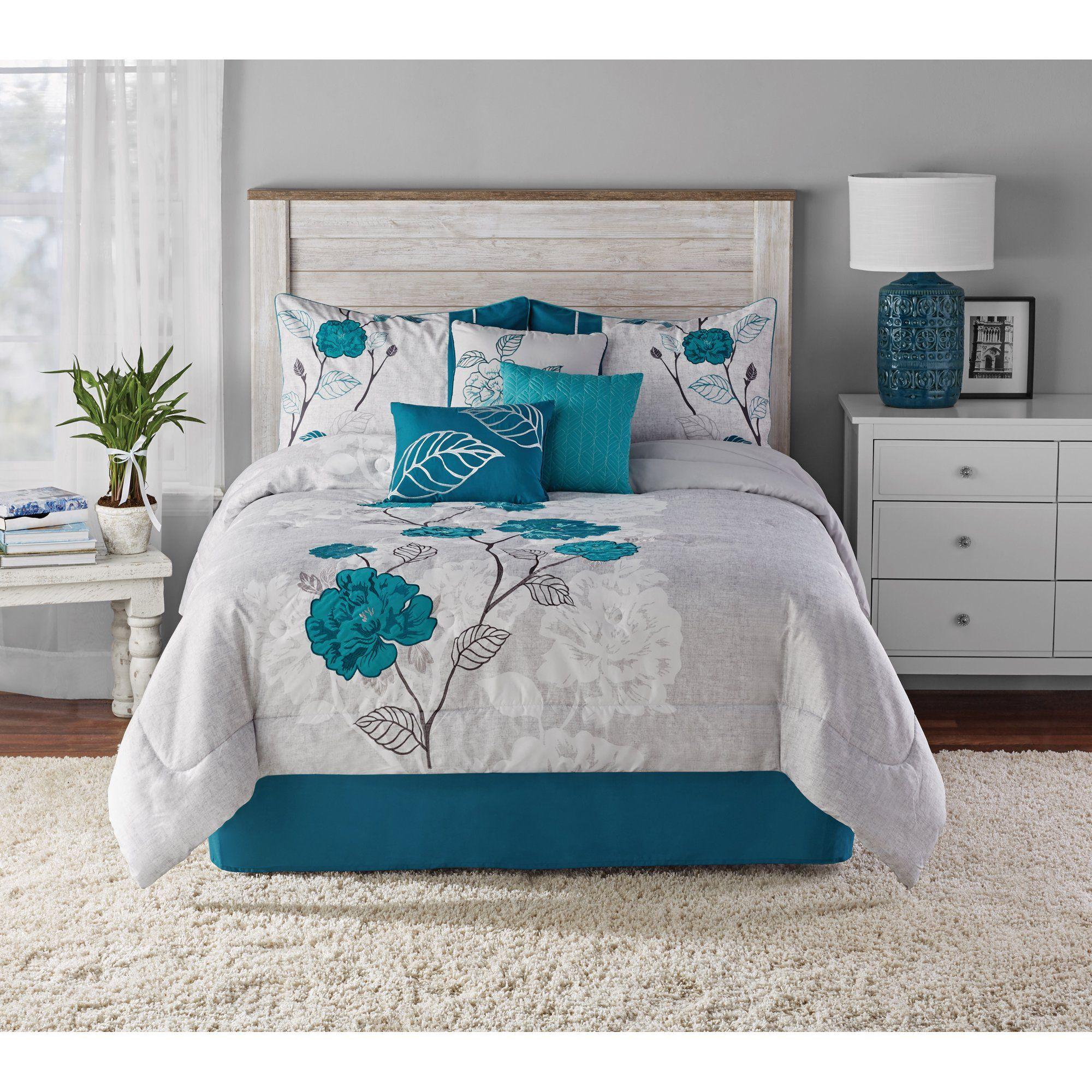 Mainstays Teal Roses Print And Applique 7 Piece Comforter Set King Walmart Com In 2020 Teal Bedroom Decor Teal Bedroom Comforter Sets