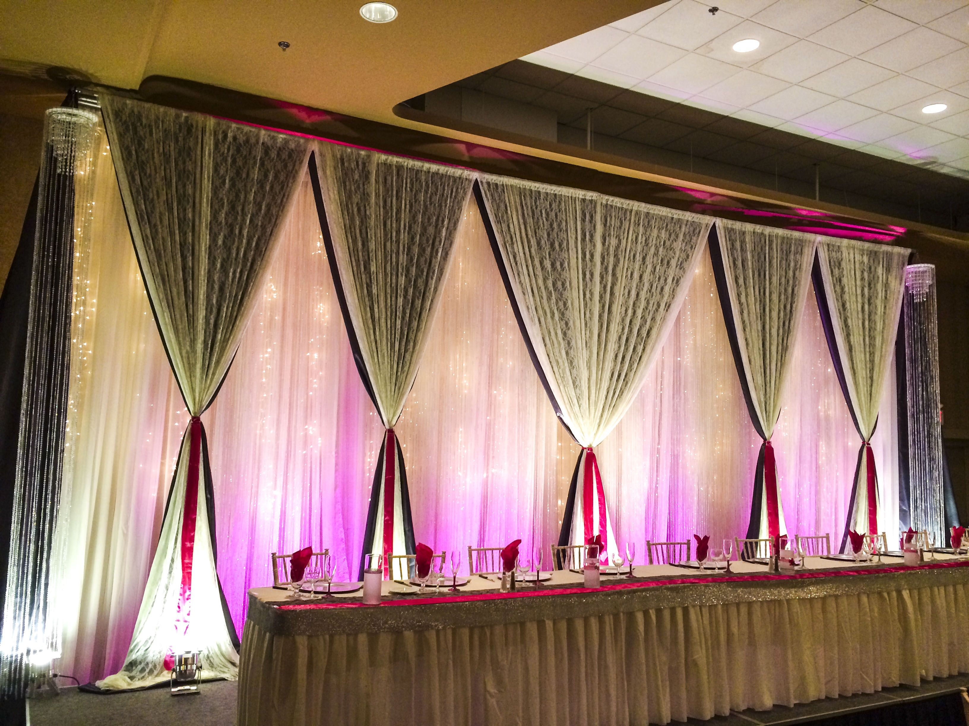 Hot Pink And Silver Bling Wedding #lethbridgeeventrentals