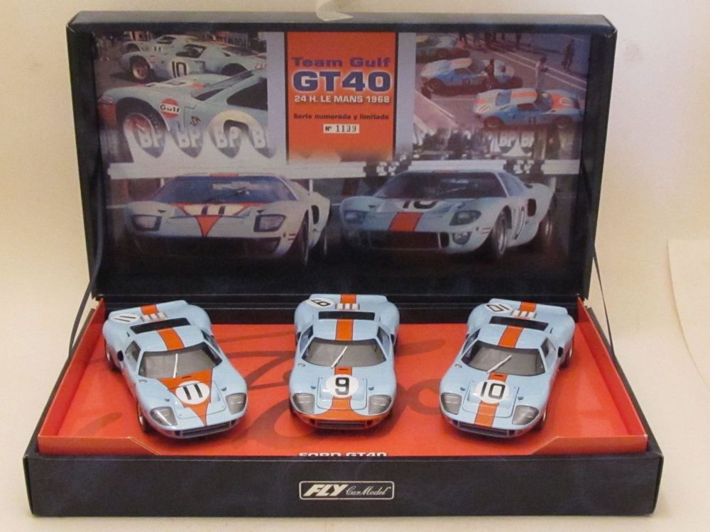 Fly Historic Collection Team Gulf Ford Gt40 1968 24h Le Mans 3 Slotcar Set 1 32 Flycarmodel