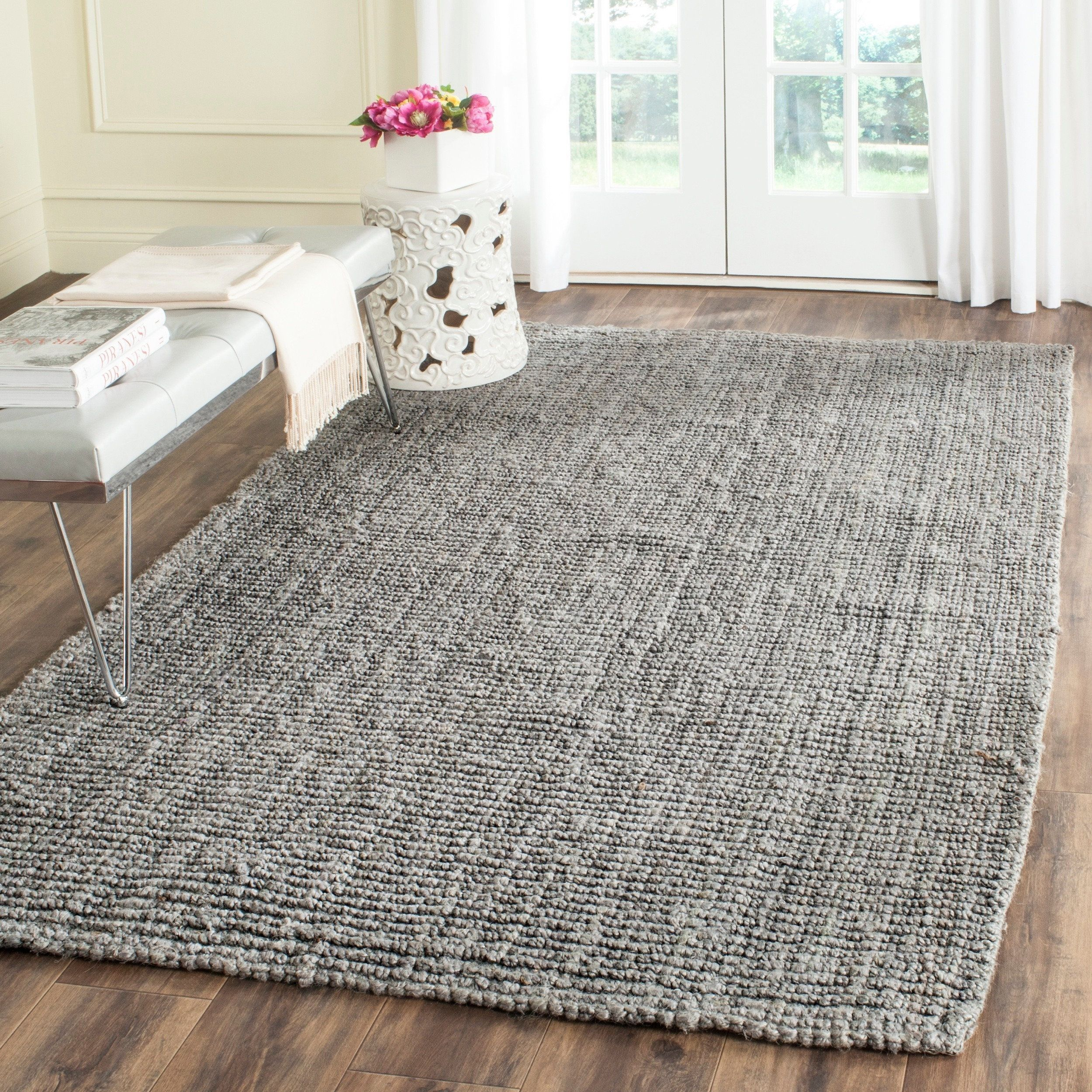 Safavieh Casual Natural Fiber Hand Woven Light Grey Chunky Thick Jute Rug 3 X 5 Nf447g Size