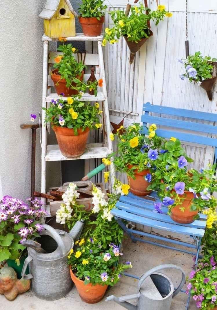 d co jardin diy id es originales et faciles avec objet de r cup divers pinterest jardins. Black Bedroom Furniture Sets. Home Design Ideas