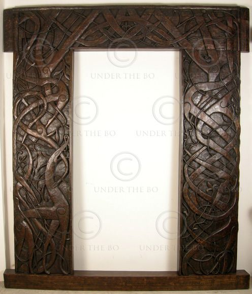Hand-carved Norwegian door frame. Teak ...