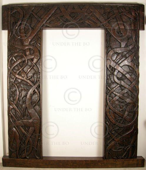 Hand-carved Norwegian door frame. Teak ...