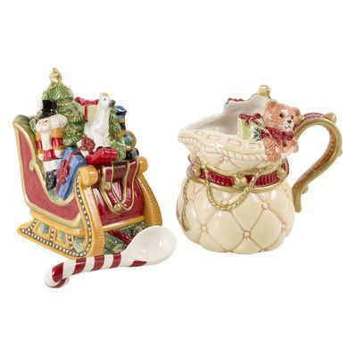 Fitz and Floyd Night Before Christmas Sugar and Creamer Set