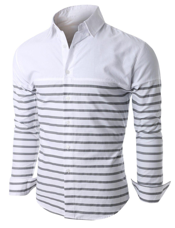 $34.99 Doublju Mens Cut and Sewn Half Stripe Casual Button Down ...