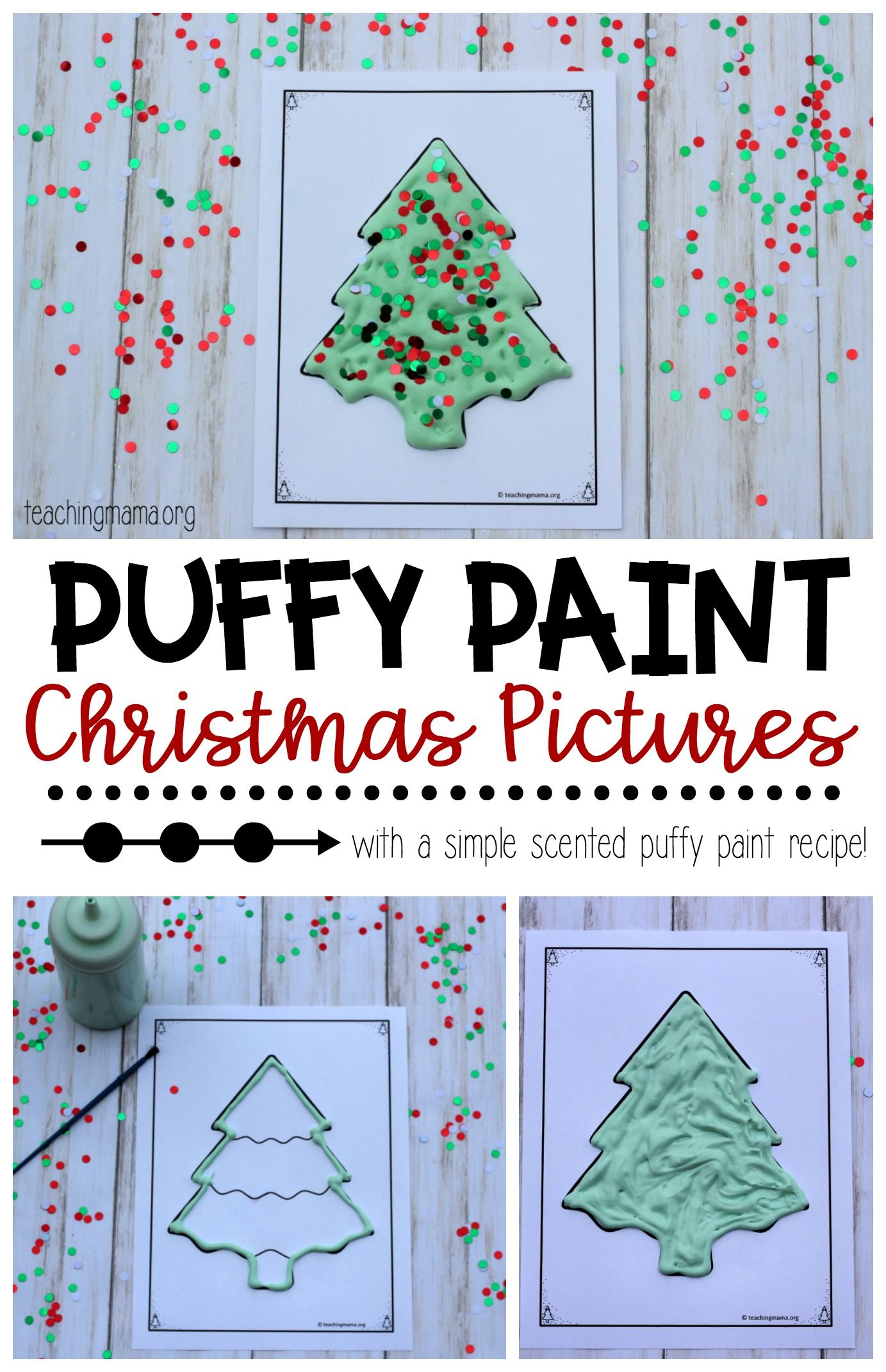 Puffy Paint Christmas Pictures Teaching Mama Preschool Christmas Puffy Paint Crafts Puffy Paint