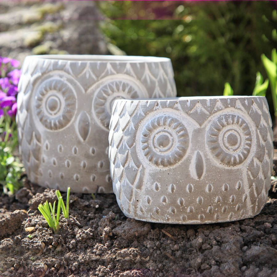 Stone Owl Garden Plant Pot Owls Pottery ideas and Ceramic owl