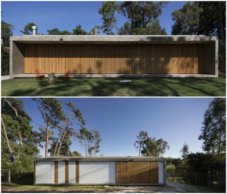 Klappläden aus Holz Fassadengestaltung Flachdachhaus Beton #wood ...