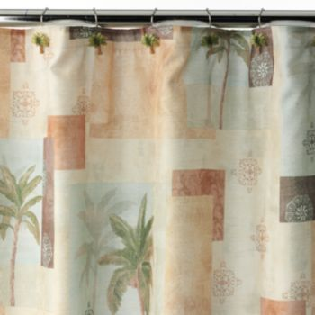 Bacova Palm Collage Fabric Shower Curtain Fabric Shower Curtains