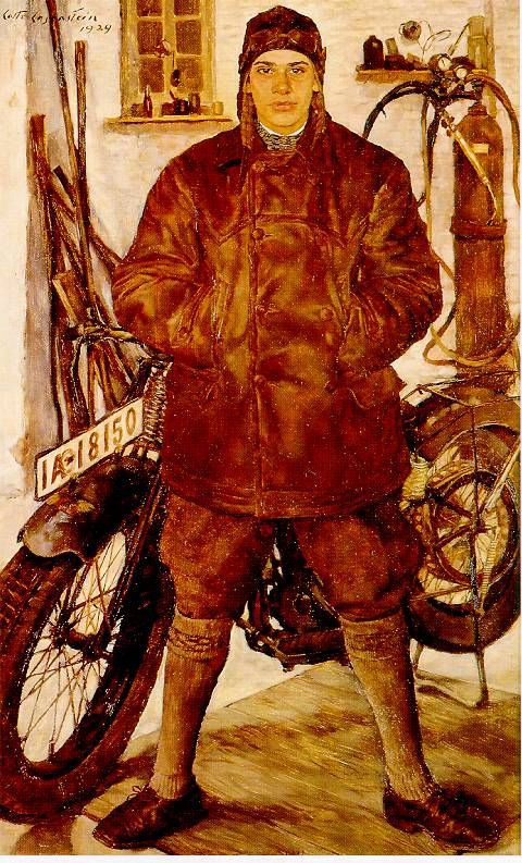 oldpainting:  Lotte Laserstein, Motocycliste, 1929