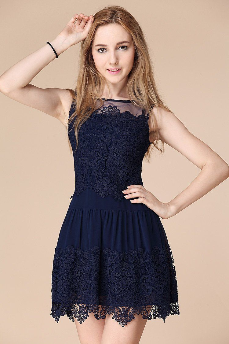 homecoming dress sexy dark navy lace short prom dress party