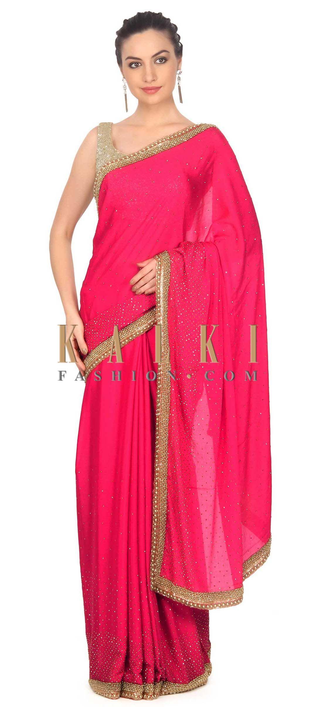 Velvet saree images rani pink saree enhanced in kundan and moti only on kalki  pink