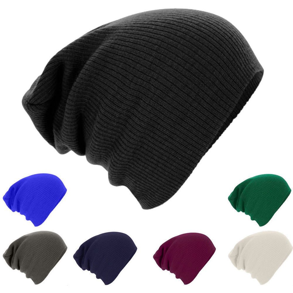 f1e859b6d24 Men Knit Baggy Oversize Winter Hat Unisex Ski Slouchy Skull Cap  fashion   clothing