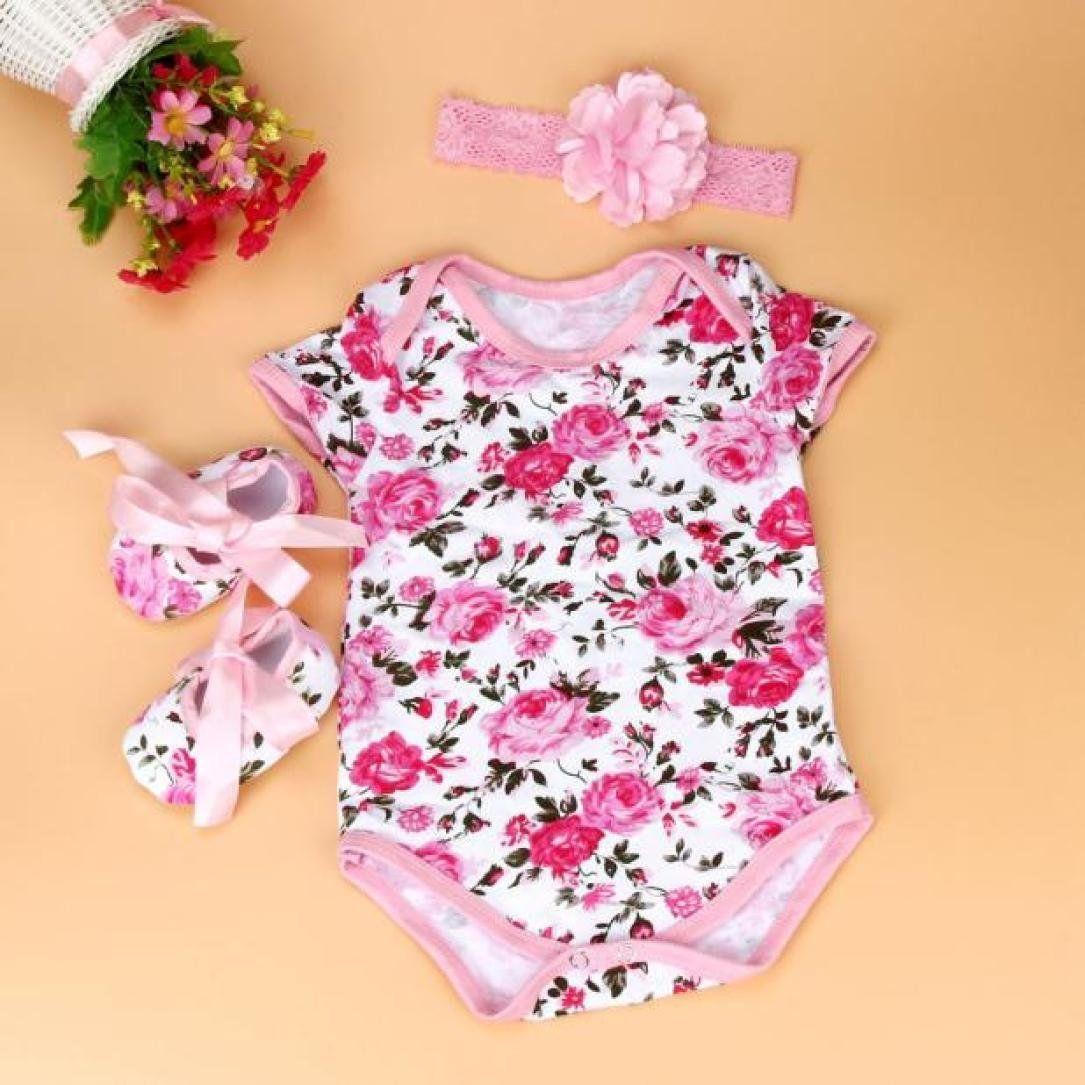 aa42104cfec7 Newborn Infant Fashion Clothes Set Baby Girl Floral Romper Bodysuit ...