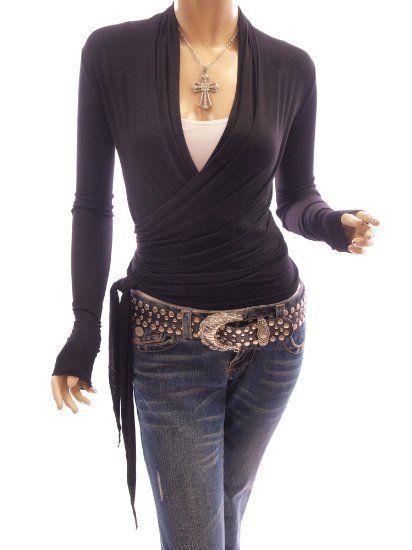 PattyBoutik Womens Convertible Long Sleeve Casual Wrap Knit Top