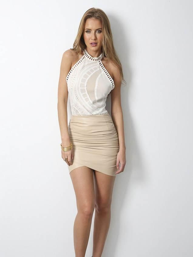 Dusty Road Skirt Nude - SALE