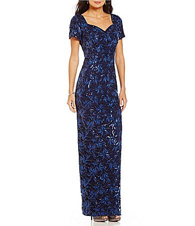For Me Brianna Capsleeve Embroidered Sequin Gown Dillards