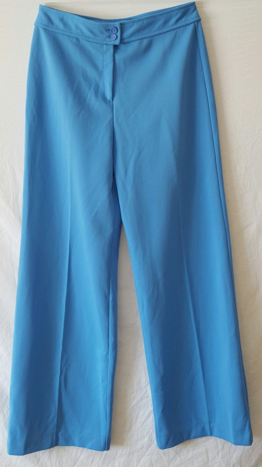 Women\'s Vintage 1970\'s Flair Blue Polyester Groovy Slacks Size 18 ...